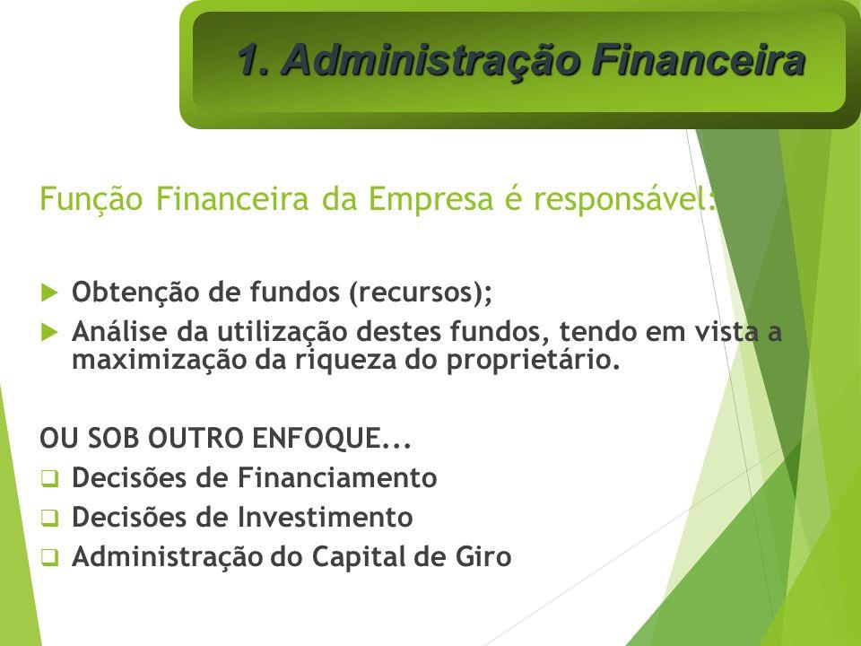 Função Financeira da Empresa é responsável: Obtenção de fundos (recursos); Análise da utilização destes fundos, tendo em vista a maximização da riquez