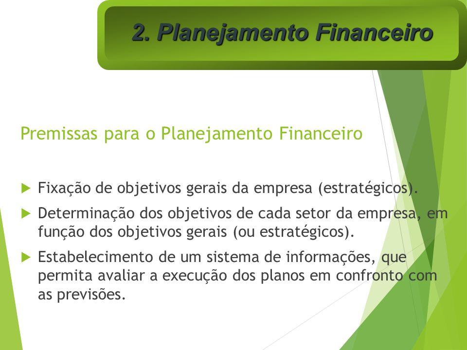 Premissas para o Planejamento Financeiro Fixação de objetivos gerais da empresa (estratégicos). Determinação dos objetivos de cada setor da empresa, e