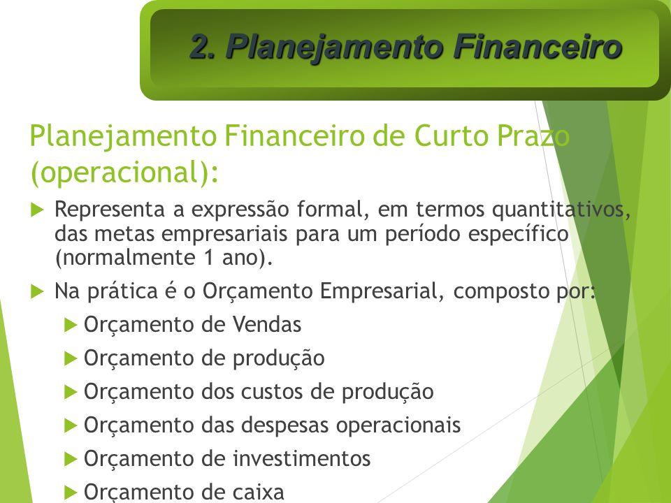 Planejamento Financeiro de Curto Prazo (operacional): Representa a expressão formal, em termos quantitativos, das metas empresariais para um período e