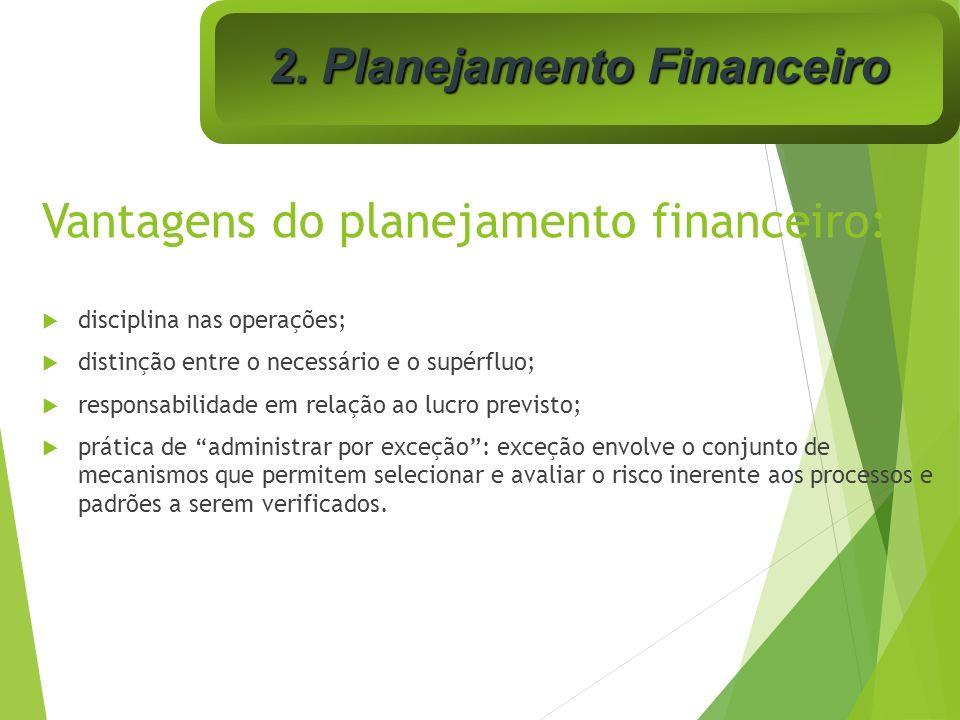 Vantagens do planejamento financeiro: disciplina nas operações; distinção entre o necessário e o supérfluo; responsabilidade em relação ao lucro previ