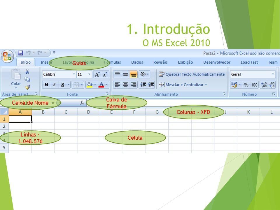 1. Introdução O MS Excel 2010 Caixa de Nome Caixa de Fórmula Colunas - XFD Linhas – 1.048.576 Célula Guias