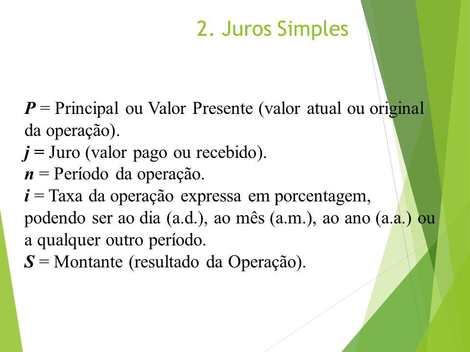 2. Juros Simples P = Principal ou Valor Presente (valor atual ou original da operação). j = Juro (valor pago ou recebido). n = Período da operação. i
