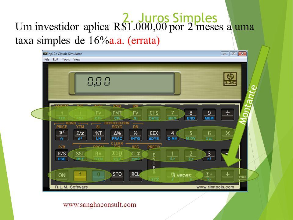 2. Juros Simples Um investidor aplica R$1.000,00 por 2 meses a uma taxa simples de 16%a.a. (errata) www.sanghaconsult.com 3 vezes Montante