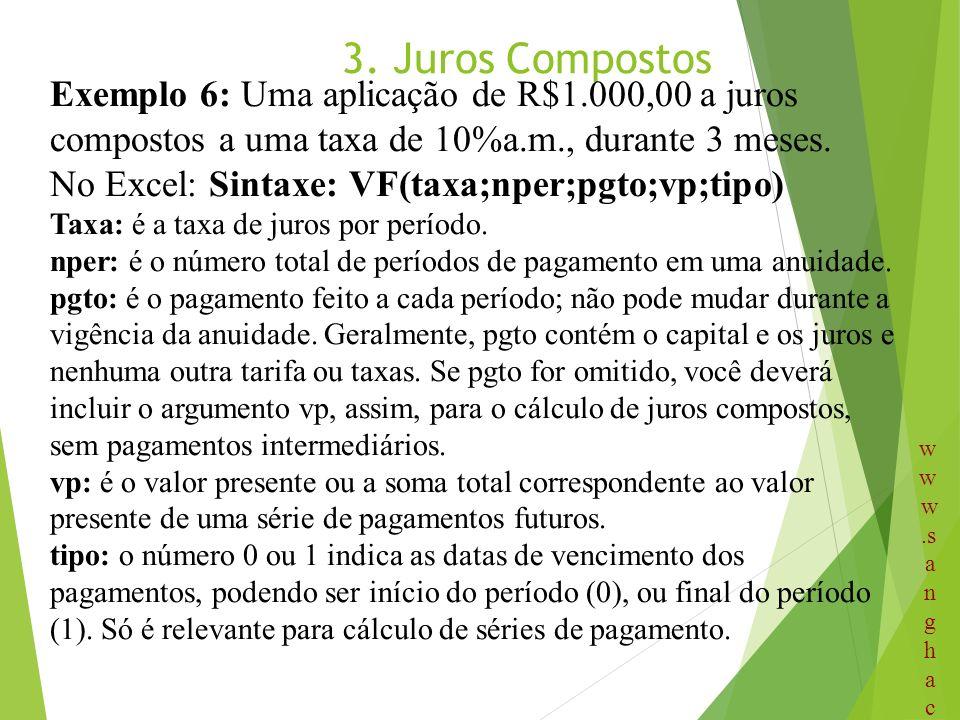 3. Juros Compostos Exemplo 6: Uma aplicação de R$1.000,00 a juros compostos a uma taxa de 10%a.m., durante 3 meses. No Excel: Sintaxe: VF(taxa;nper;pg