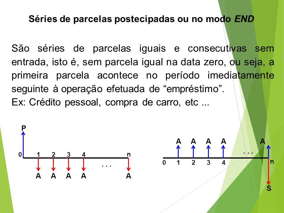 Séries de parcelas postecipadas ou no modo END São séries de parcelas iguais e consecutivas sem entrada, isto é, sem parcela igual na data zero, ou se