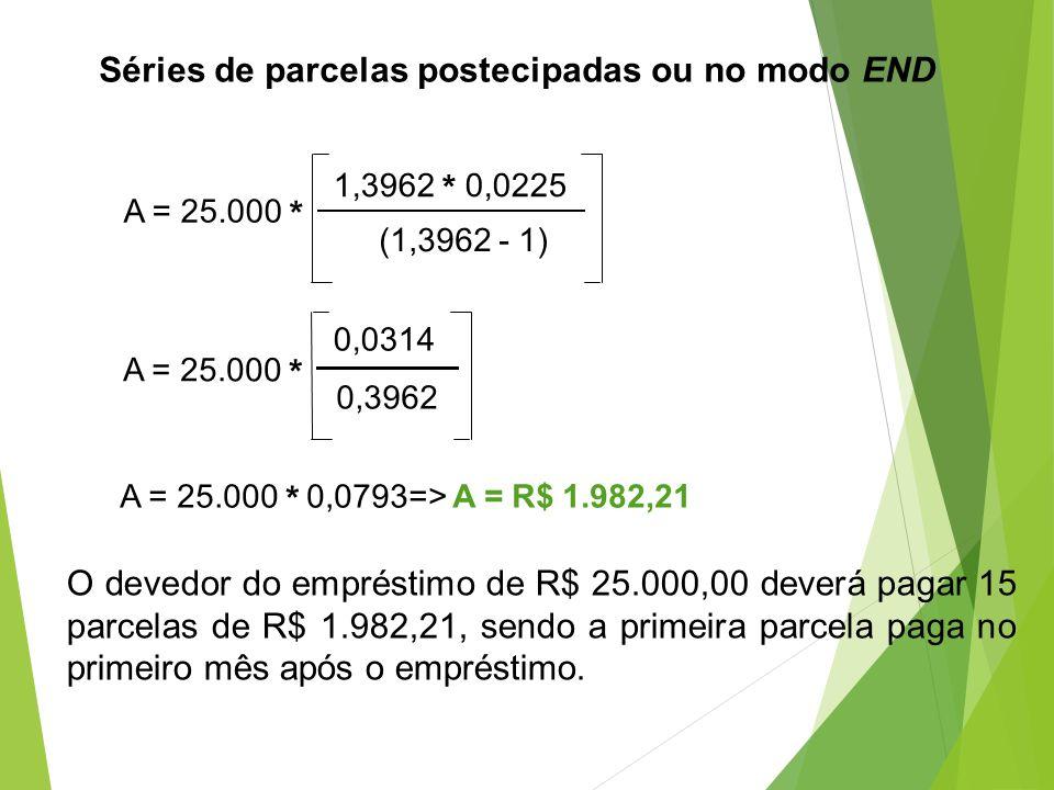 Séries de parcelas postecipadas ou no modo END A = 25.000 * 1,3962 * 0,0225 (1,3962 - 1) A = 25.000 * 0,0314 0,3962 A = 25.000 * 0,0793=> A = R$ 1.982