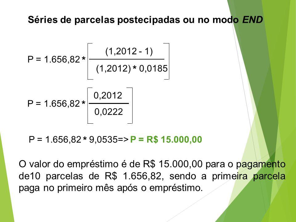 Séries de parcelas postecipadas ou no modo END P = 1.656,82 * (1,2012 - 1) (1,2012) * 0,0185 P = 1.656,82 * 0,2012 0,0222 P = 1.656,82 * 9,0535=> P =