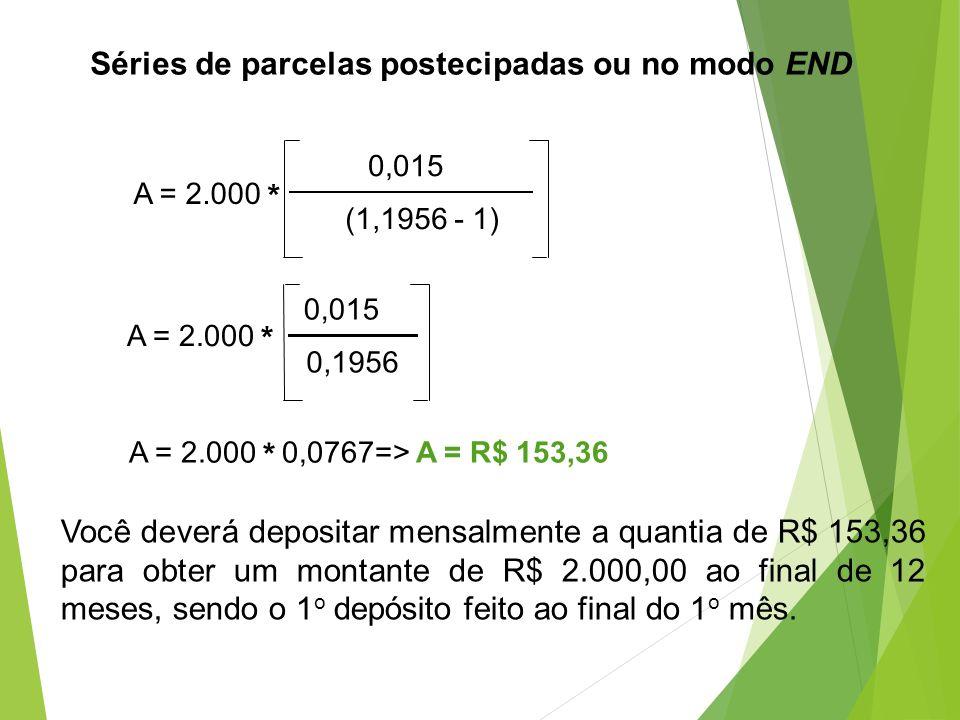 Séries de parcelas postecipadas ou no modo END A = 2.000 * 0,015 (1,1956 - 1) A = 2.000 * 0,015 0,1956 A = 2.000 * 0,0767=> A = R$ 153,36 Você deverá