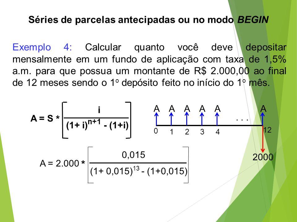Exemplo 4: Calcular quanto você deve depositar mensalmente em um fundo de aplicação com taxa de 1,5% a.m. para que possua um montante de R$ 2.000,00 a