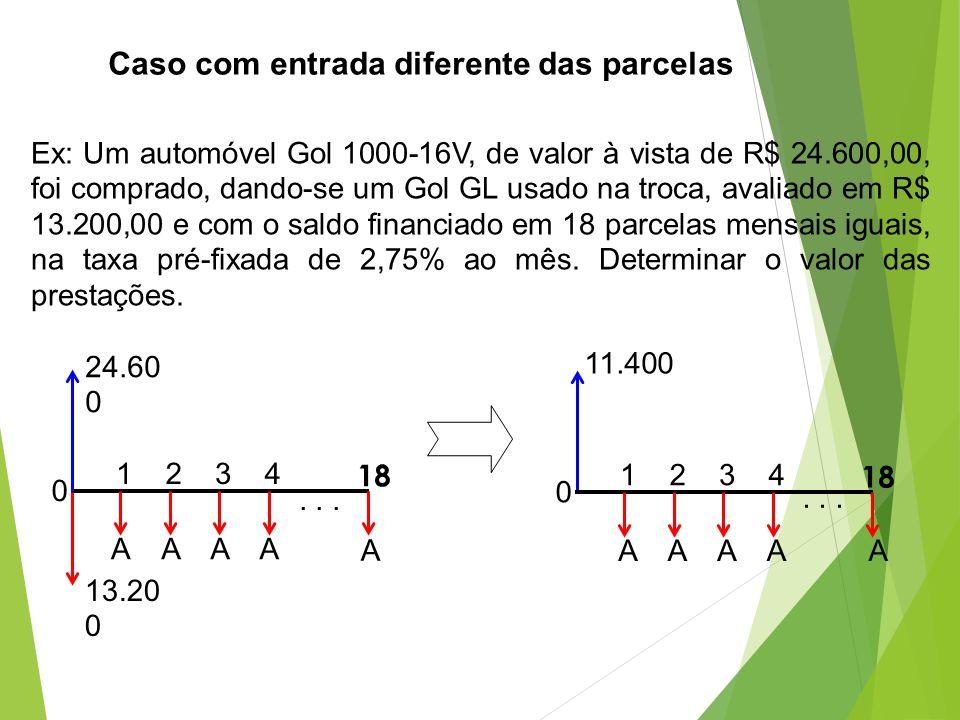 Caso com entrada diferente das parcelas Ex: Um automóvel Gol 1000-16V, de valor à vista de R$ 24.600,00, foi comprado, dando-se um Gol GL usado na tro