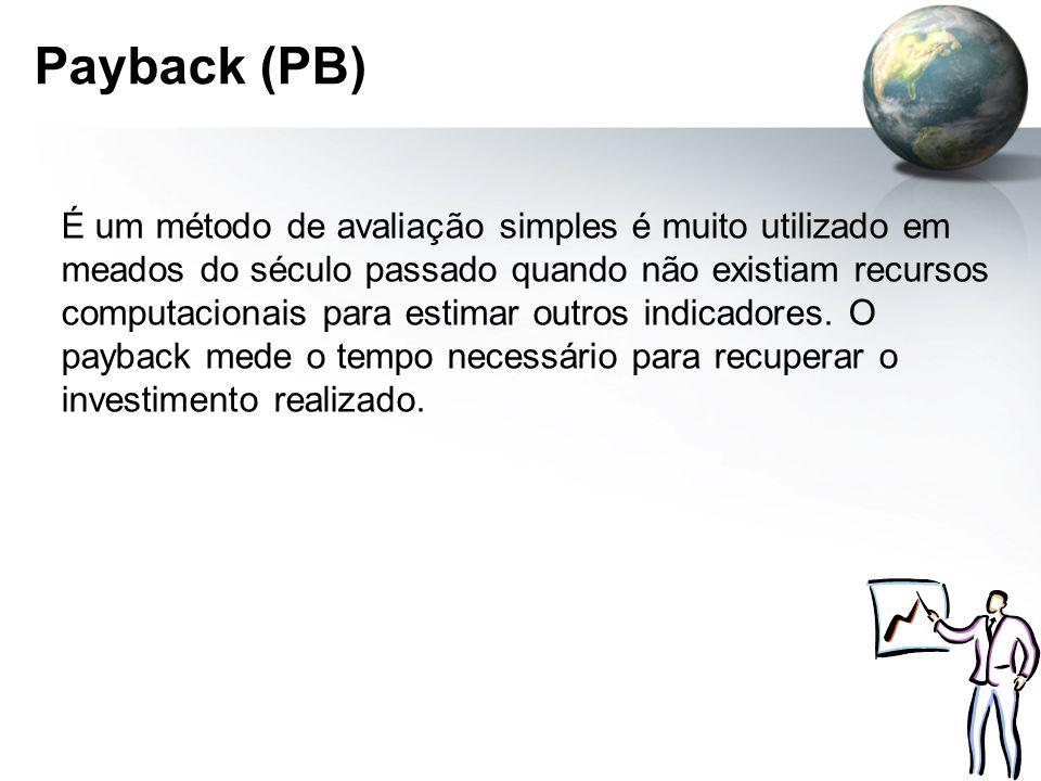 Payback (PB) É um método de avaliação simples é muito utilizado em meados do século passado quando não existiam recursos computacionais para estimar o