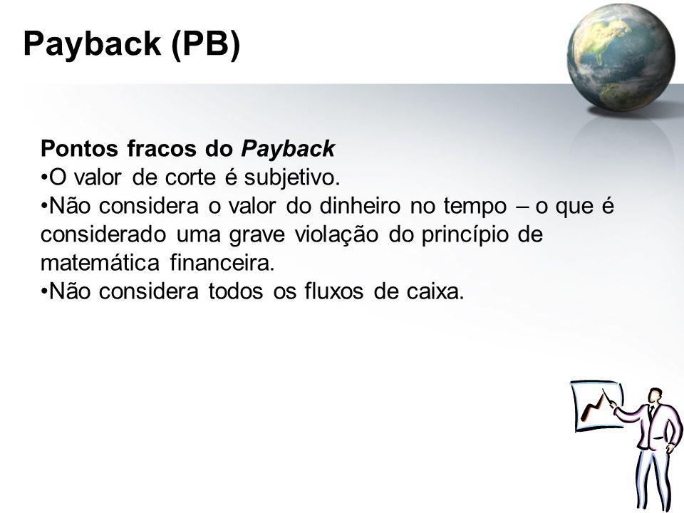 Payback (PB) Pontos fracos do Payback O valor de corte é subjetivo. Não considera o valor do dinheiro no tempo – o que é considerado uma grave violaçã