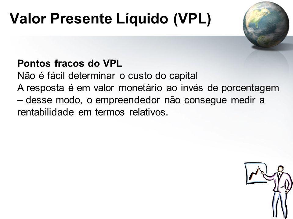 Valor Presente Líquido (VPL) Pontos fracos do VPL Não é fácil determinar o custo do capital A resposta é em valor monetário ao invés de porcentagem –