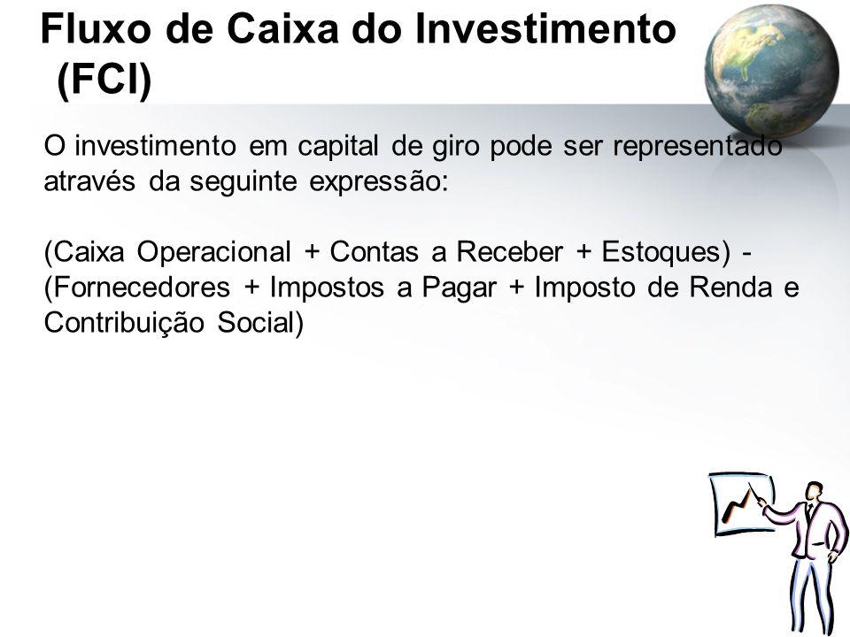 Fluxo de Caixa do Investimento (FCI) O investimento em capital de giro pode ser representado através da seguinte expressão: (Caixa Operacional + Conta