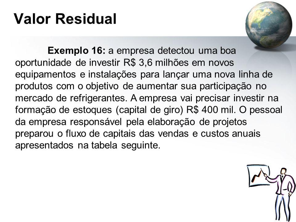 Valor Residual Exemplo 16: a empresa detectou uma boa oportunidade de investir R$ 3,6 milhões em novos equipamentos e instalações para lançar uma nova