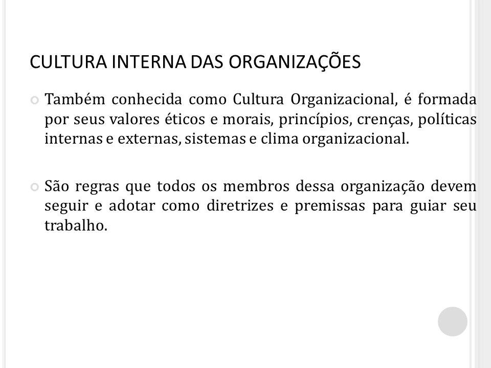 CULTURA INTERNA DAS ORGANIZAÇÕES Também conhecida como Cultura Organizacional, é formada por seus valores éticos e morais, princípios, crenças, políti