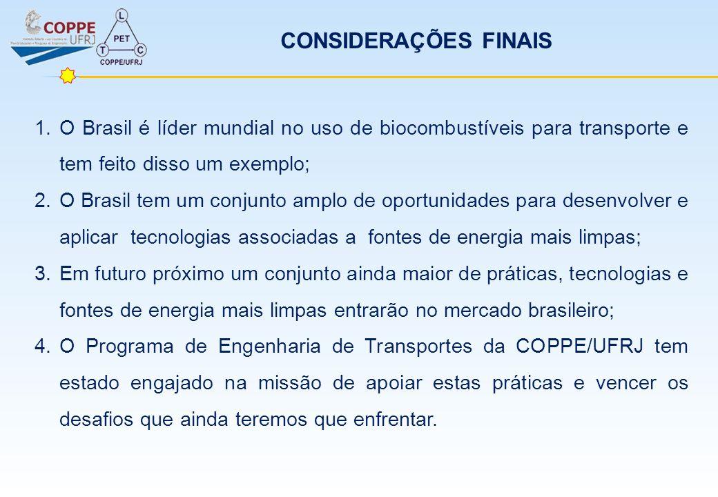 CONSIDERAÇÕES FINAIS 1.O Brasil é líder mundial no uso de biocombustíveis para transporte e tem feito disso um exemplo; 2.O Brasil tem um conjunto amp
