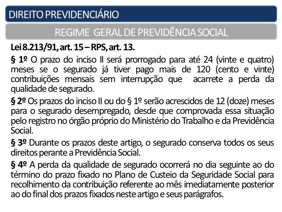 DIREITO PREVIDENCIÁRIO REGIME GERAL DE PREVIDÊNCIA SOCIAL Lei 8.213/91, art. 15 – RPS, art. 13. § 1º O prazo do inciso II será prorrogado para até 24