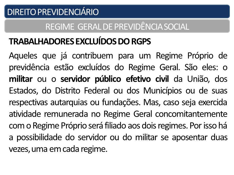 DIREITO PREVIDENCIÁRIO REGIME GERAL DE PREVIDÊNCIA SOCIAL TRABALHADORES EXCLUÍDOS DO RGPS Aqueles que já contribuem para um Regime Próprio de previdên