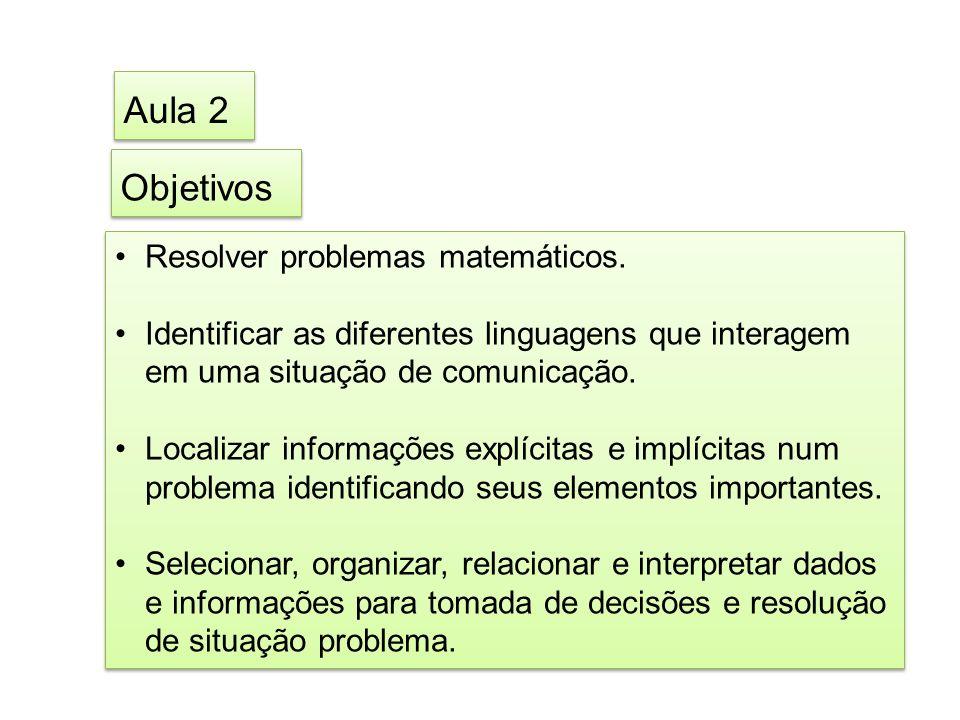 Objetivos Resolver problemas matemáticos.