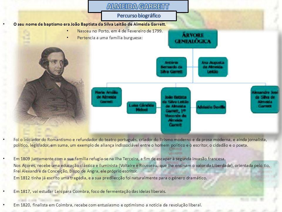 O seu nome de baptismo era João Baptista da Silva Leitão de Almeida Garrett. Nasceu no Porto, em 4 de Fevereiro de 1799. Pertencia a uma família burgu