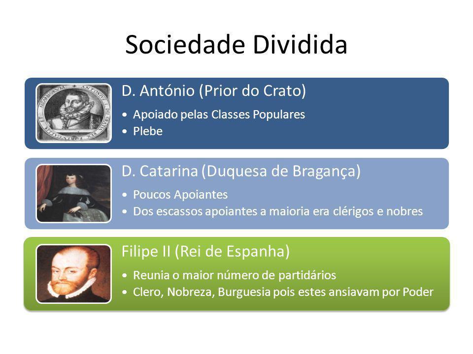 D. António (Prior do Crato) Apoiado pelas Classes Populares Plebe D. Catarina (Duquesa de Bragança) Poucos Apoiantes Dos escassos apoiantes a maioria