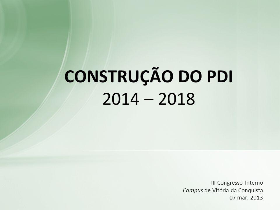 III Congresso Interno Campus de Vitória da Conquista 07 mar. 2013 CONSTRUÇÃO DO PDI 2014 – 2018