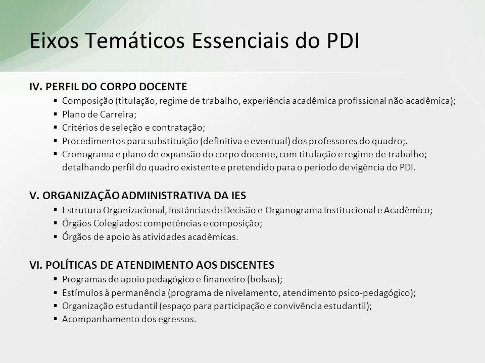 IV. PERFIL DO CORPO DOCENTE Composição (titulação, regime de trabalho, experiência acadêmica profissional não acadêmica); Plano de Carreira; Critérios