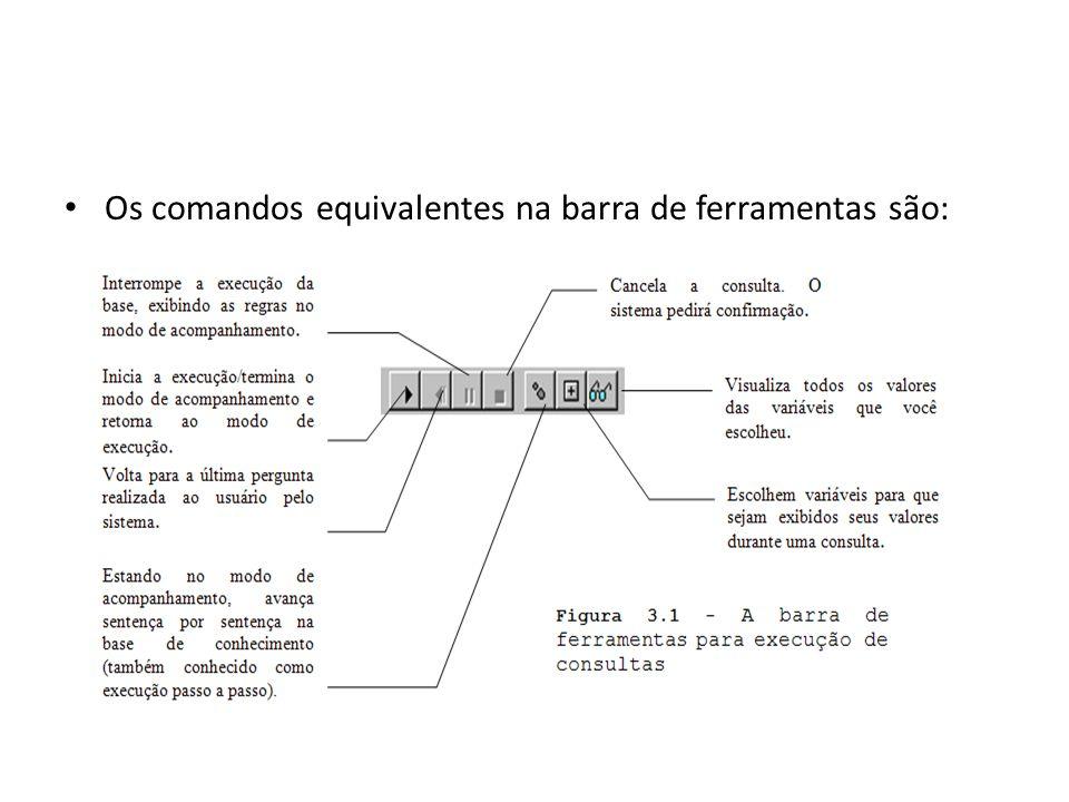 Os comandos equivalentes na barra de ferramentas são: