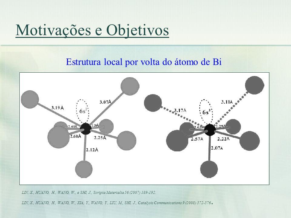 Motivações e Objetivos Objetivos: i) descrever a estrutura local por volta do átomo de Bi; ii) comparar as densidades eletrônicas totais e parciais dos compostos; iii) comparar as propriedades ópticas dos três compostos.