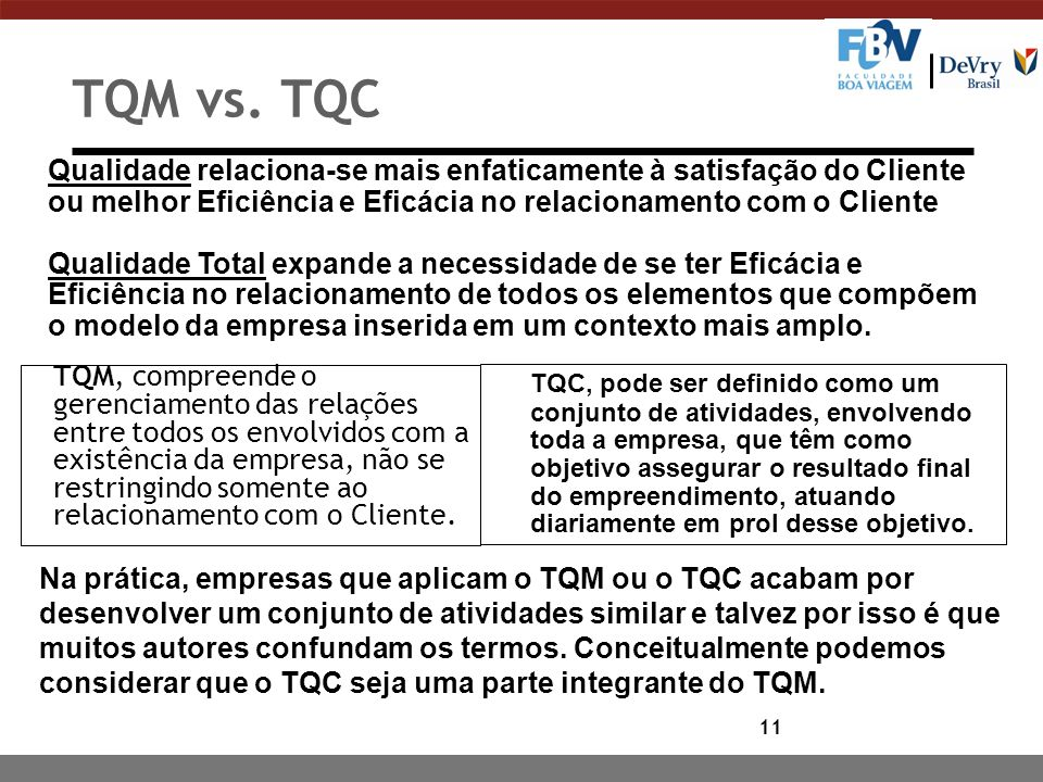 11 TQM vs. TQC TQM, compreende o gerenciamento das relações entre todos os envolvidos com a existência da empresa, não se restringindo somente ao rela