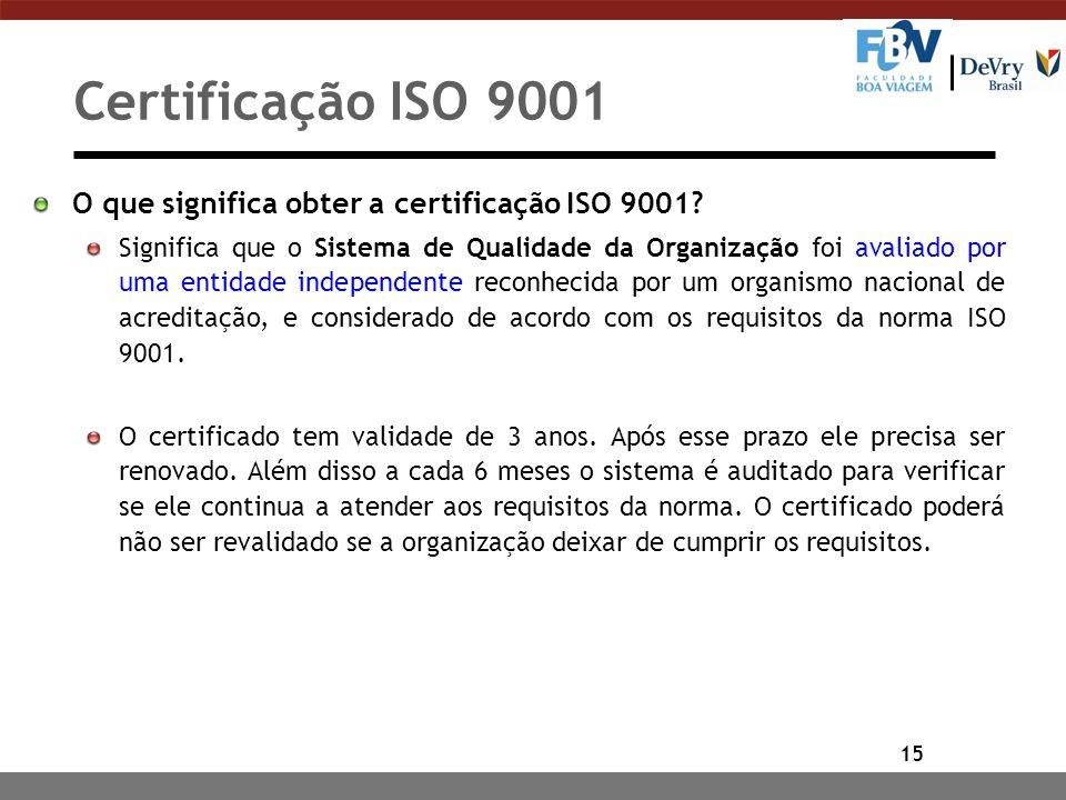 15 Certificação ISO 9001 O que significa obter a certificação ISO 9001? Significa que o Sistema de Qualidade da Organização foi avaliado por uma entid