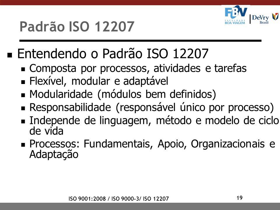 19 ISO 9001:2008 / ISO 9000-3/ ISO 12207 Entendendo o Padrão ISO 12207 Composta por processos, atividades e tarefas Flexível, modular e adaptável Modu