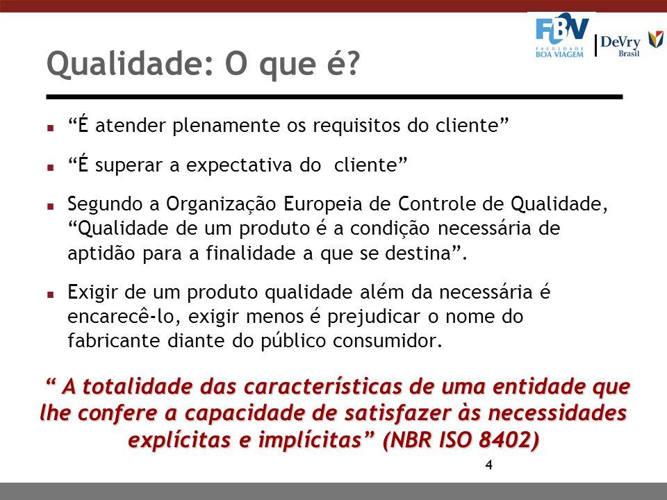 4 Qualidade: O que é? n É atender plenamente os requisitos do cliente n É superar a expectativa do cliente n Segundo a Organização Europeia de Control