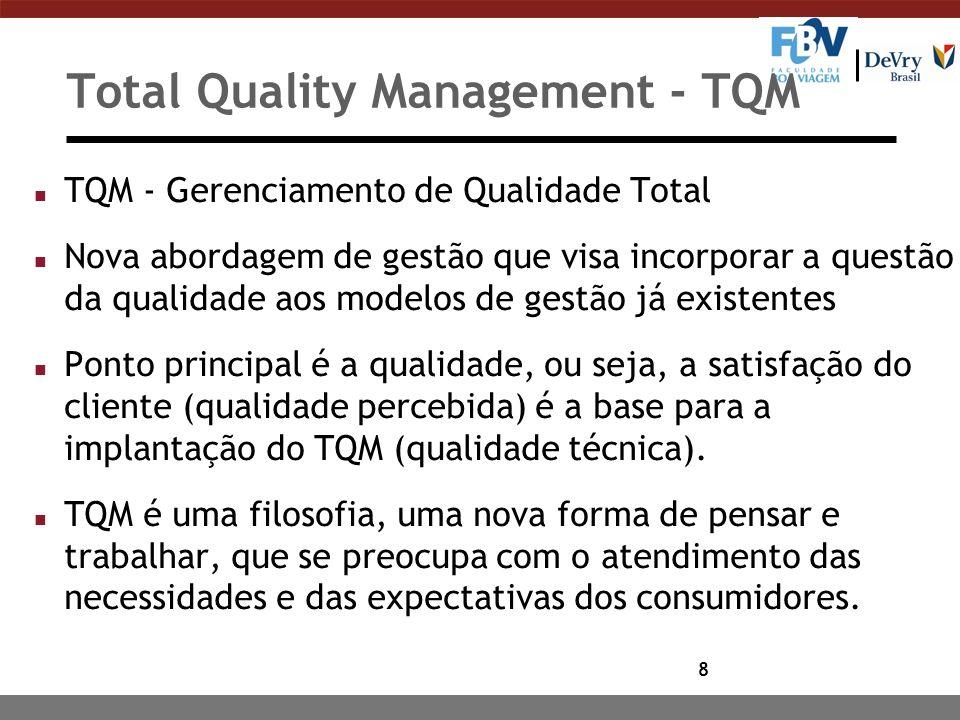 8 Total Quality Management - TQM n TQM - Gerenciamento de Qualidade Total n Nova abordagem de gestão que visa incorporar a questão da qualidade aos mo