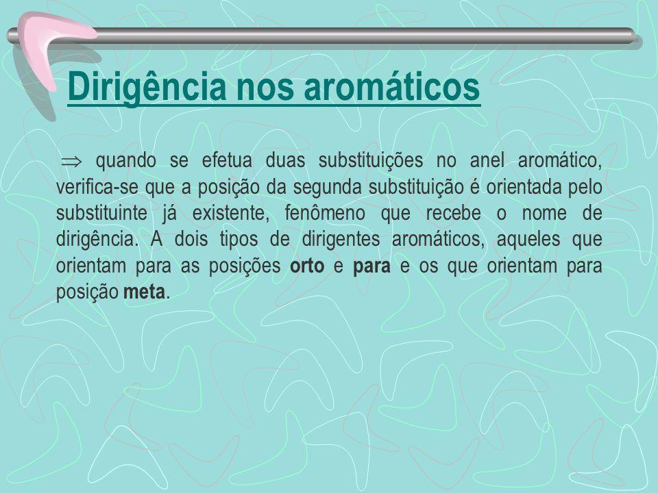 Dirigência nos aromáticos quando se efetua duas substituições no anel aromático, verifica-se que a posição da segunda substituição é orientada pelo substituinte já existente, fenômeno que recebe o nome de dirigência.