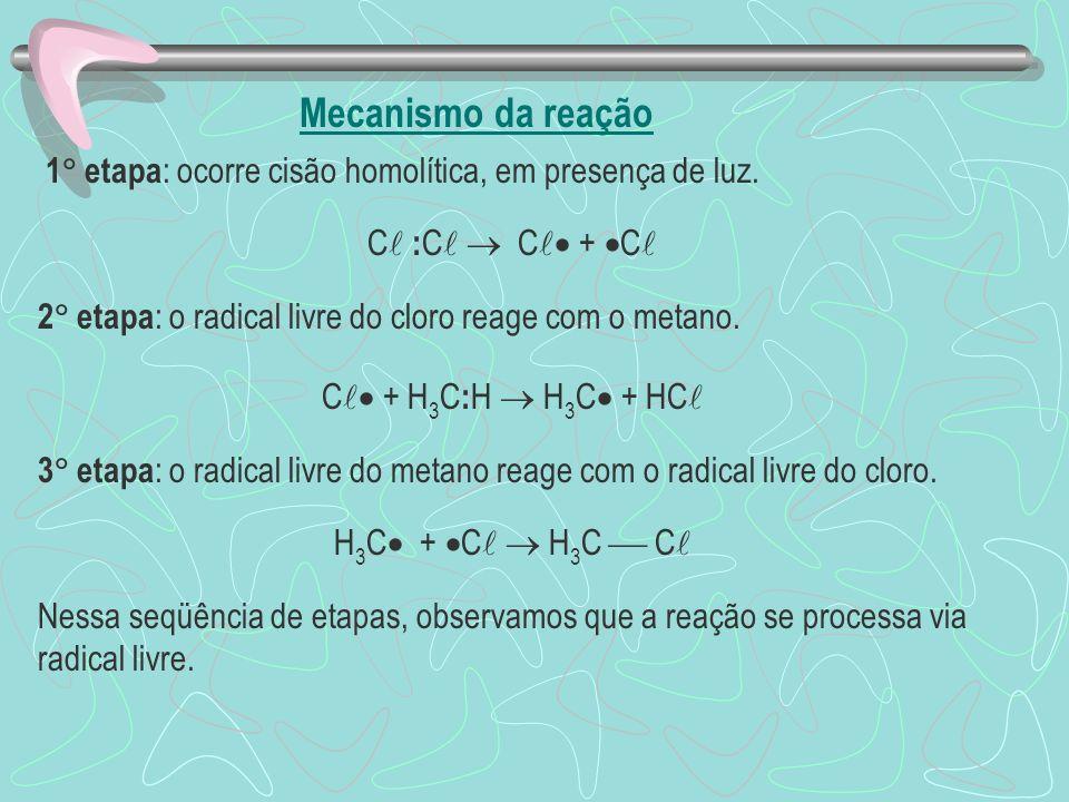 Mecanismo da reação 1 etapa : ocorre cisão homolítica, em presença de luz. C : C C + C 2 etapa : o radical livre do cloro reage com o metano. C + H 3
