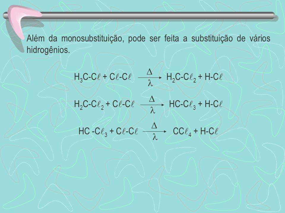Além da monosubstituição, pode ser feita a substituição de vários hidrogênios. H 3 C-C + C -C H 2 C-C 2 + H-C H 2 C-C 2 + C -C HC-C 3 + H-C HC -C 3 +