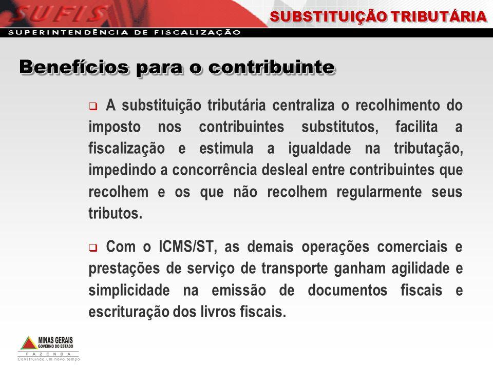 A substituição tributária centraliza o recolhimento do imposto nos contribuintes substitutos, facilita a fiscalização e estimula a igualdade na tribut