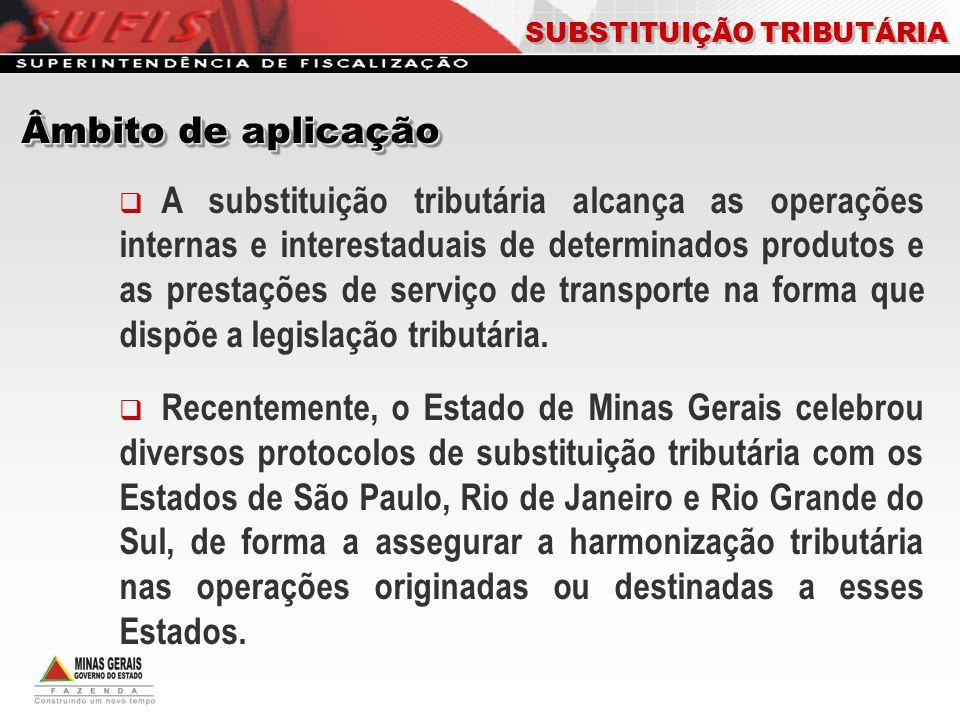 A substituição tributária alcança as operações internas e interestaduais de determinados produtos e as prestações de serviço de transporte na forma qu
