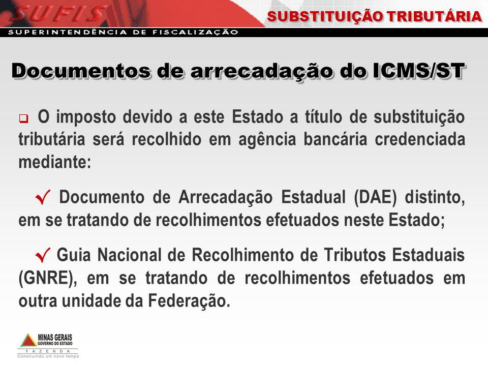 O imposto devido a este Estado a título de substituição tributária será recolhido em agência bancária credenciada mediante: Documento de Arrecadação E