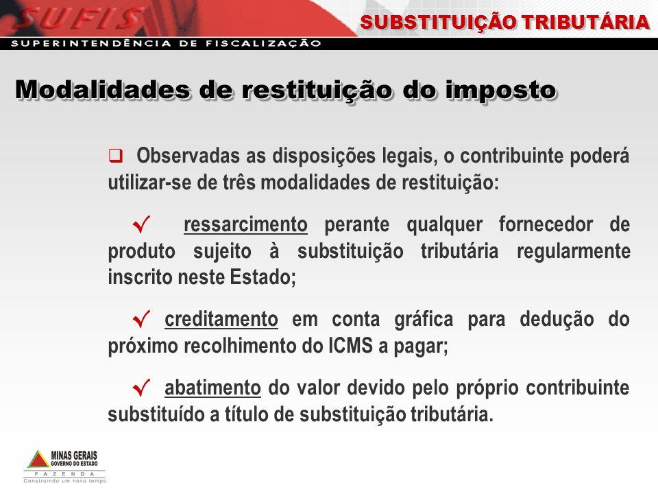 Observadas as disposições legais, o contribuinte poderá utilizar-se de três modalidades de restituição: ressarcimento perante qualquer fornecedor de p