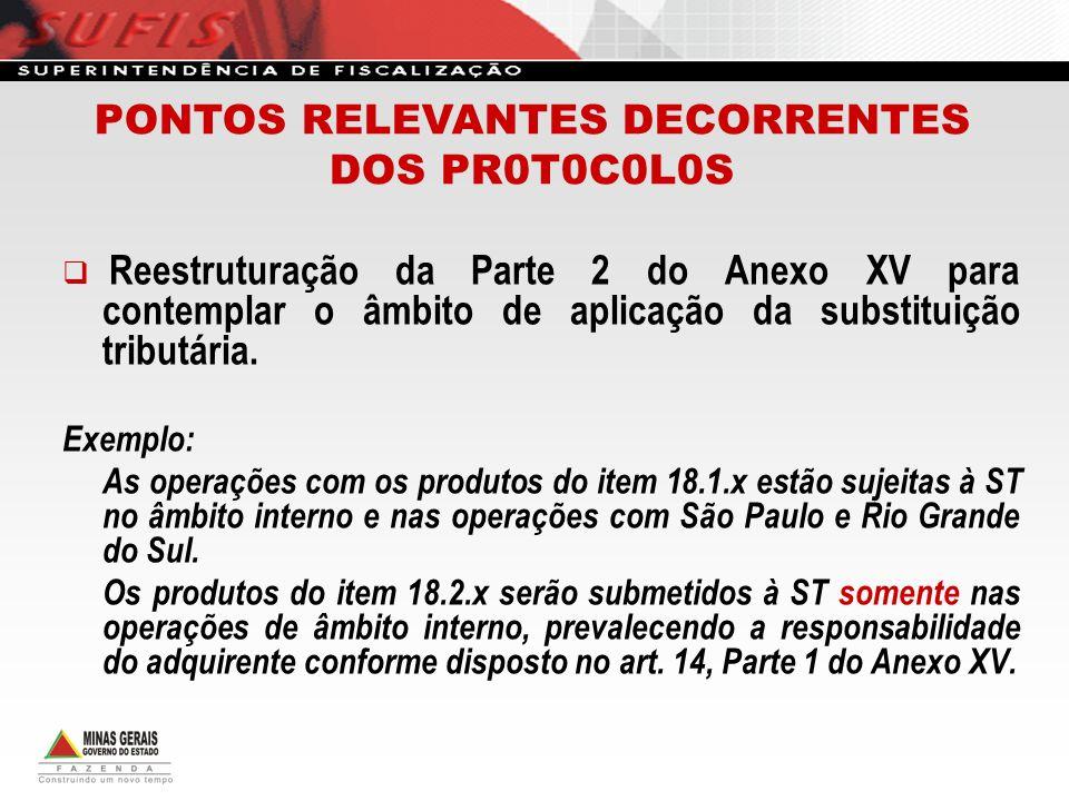 Reestruturação da Parte 2 do Anexo XV para contemplar o âmbito de aplicação da substituição tributária. Exemplo: As operações com os produtos do item