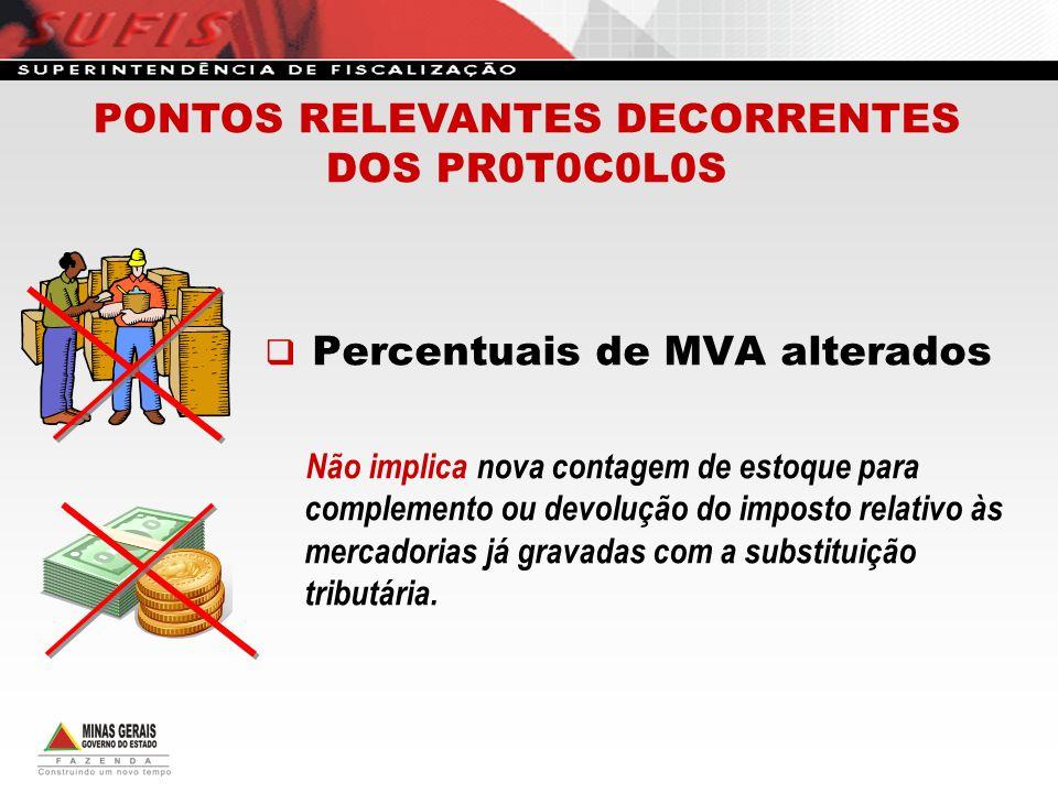 Percentuais de MVA alterados Não implica nova contagem de estoque para complemento ou devolução do imposto relativo às mercadorias já gravadas com a s