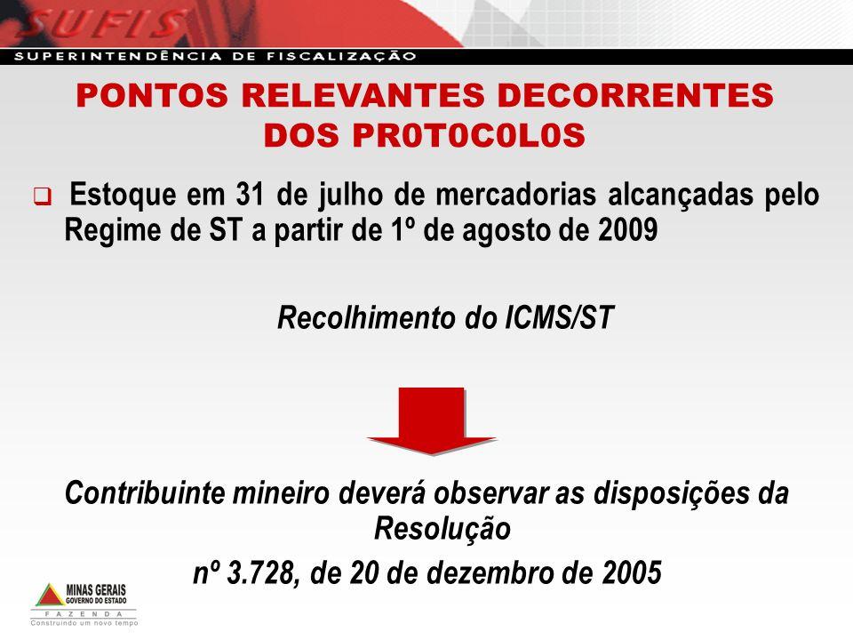 Estoque em 31 de julho de mercadorias alcançadas pelo Regime de ST a partir de 1º de agosto de 2009 Recolhimento do ICMS/ST Contribuinte mineiro dever