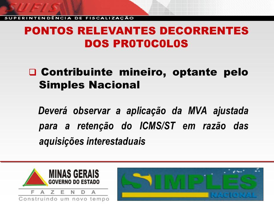 Contribuinte mineiro, optante pelo Simples Nacional Deverá observar a aplicação da MVA ajustada para a retenção do ICMS/ST em razão das aquisições int