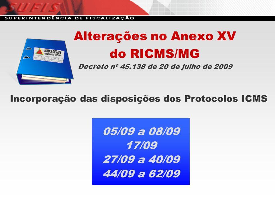 Alterações no Anexo XV do RICMS/MG Decreto nº 45.138 de 20 de julho de 2009 Incorporação das disposições dos Protocolos ICMS 05/09 a 08/09 17/09 27/09