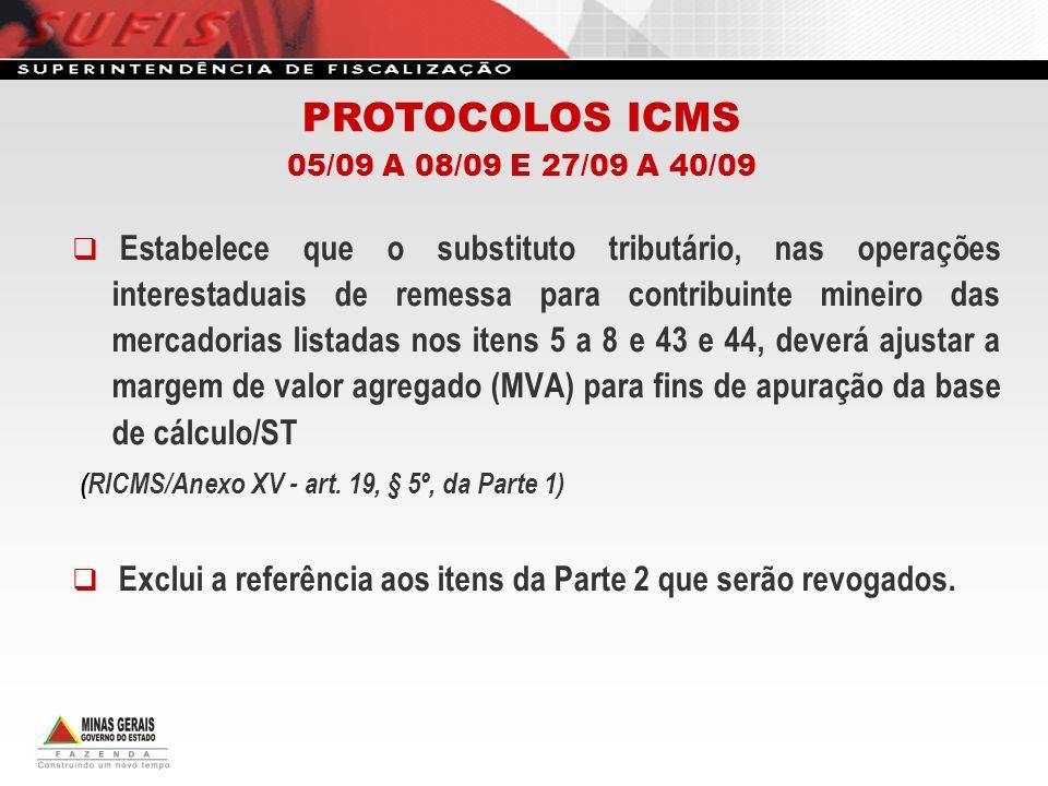 Estabelece responsabilidade por ST aos contribuintes situados no Estado do Rio de Janeiro nas remessas para contribuintes mineiros de peças, componentes e acessórios, para veículos automotores e outros fins.
