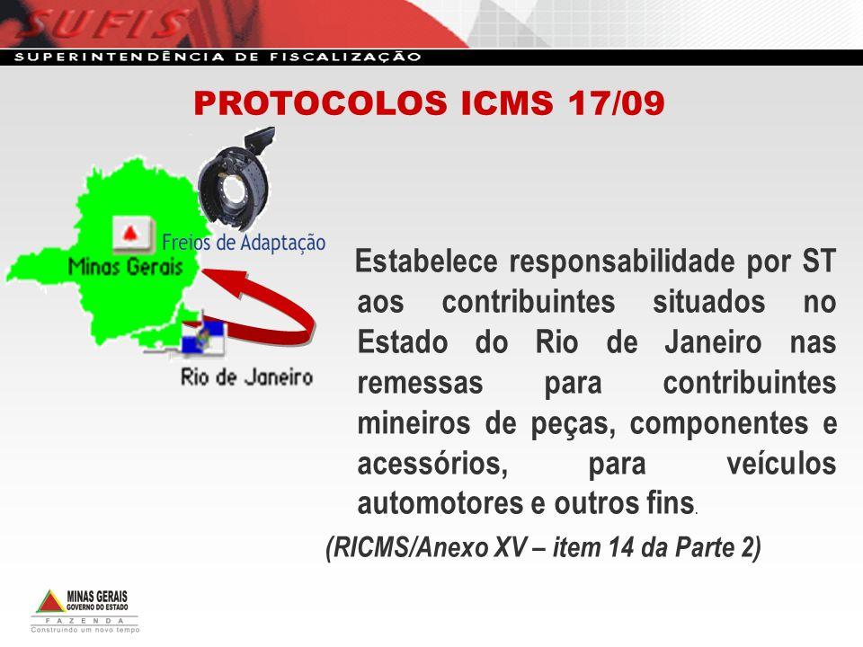 Estabelece responsabilidade por ST aos contribuintes situados no Estado do Rio de Janeiro nas remessas para contribuintes mineiros de peças, component