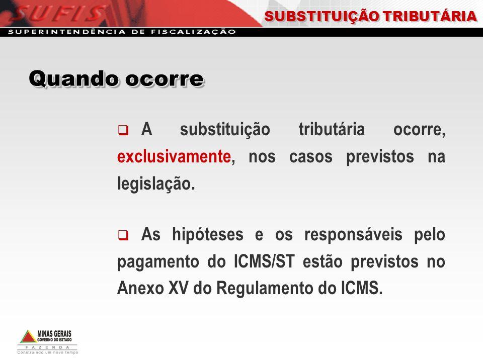 A substituição tributária ocorre, exclusivamente, nos casos previstos na legislação. As hipóteses e os responsáveis pelo pagamento do ICMS/ST estão pr